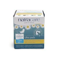 英国进口奈卡Natracare天然棉超薄护翼卫生巾 日用量多型260mm 12片装