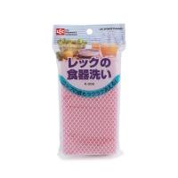 日本LEC洗碗海绵粉色15*8cm